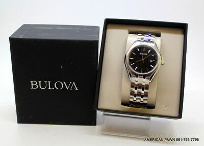 Bulova Classic Men's 96B265 Quartz Black Dial Silver-Tone Bracelet 41mm Watch