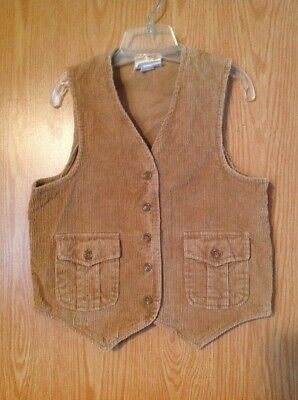 True Original 1970S Vintage Young Teen Brand Tan Corduroy Button Up Vest Sears