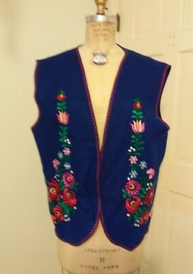 Vintage Hungarian Blue Floral Hand Embroidered Folk Vest