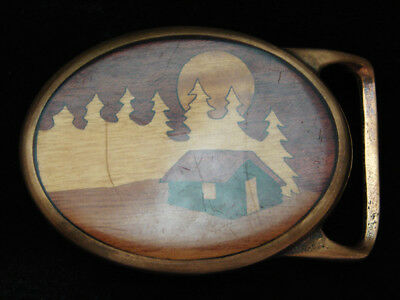 PJ13141 VINTAGE 1970s **CABIN IN THE FOREST** INLAID WOOD ART SOLID BRASS BUCKLE