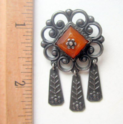 Antique Vintage Ornament Silver Brooch Pin Fibula With Amber And Pendants (5)