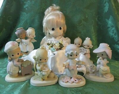 Precious Moments Lot of 7 Figurines and Bride Doll