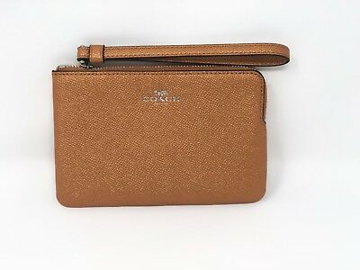 NWT COACH F21070 Corner Zip Wristlet In Metallic Tangerine Crossgrain Leather