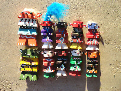 10 Kachina Route 66 Figures Wooden Painted Southwestern Ornaments Unsigned