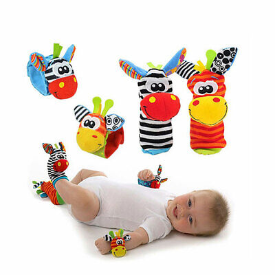 Sozzy 1 Pair Baby Infant Soft Plush Wrist Rattles Foots Socks Developmental Toys