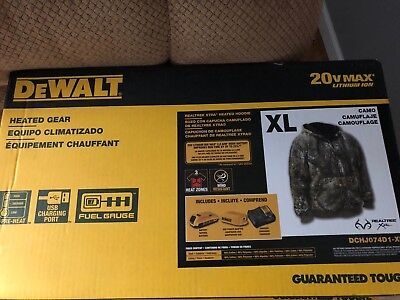 DeWALT DCHJ074D1 20V Realtree XTRA Camouflage Heated Hoodie Extra Large XL