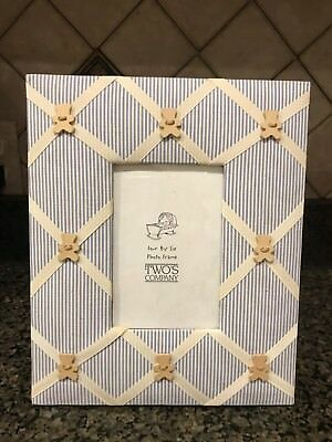 Two's Company 4 X 6 Boy Blue Stripe Picture Frame Fabric Wooden Bears Ribbons