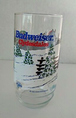 BUDWEISER CLYDESDALES~1995~WINTER SNOW SCENE~TUMBLER~ANHEUSER-BUSCH-Pre-Owned