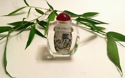 """CHINESE CRYSTAL """"Great Wall of China"""" Large Snuff Bottle Reverse-Painted VINTAGE"""