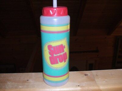 VINTAGE Sundrop Plastic Water Beverage Bottle with Straw and Cap HTF ADVERTISING