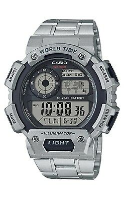 Casio New Men's Metal Band World Time 5 Alarms Chrono Sports Watch AE1400WHD-1