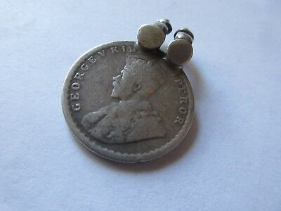Antique 1922 India Indian Half Rupee Silver Coin Pendant 1/8 oz.