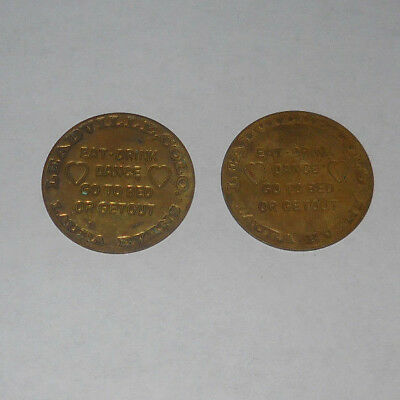 Lot of 2 Vtg Leadville Colorado Laura Evens Brothel Brass Token Coin Whore House