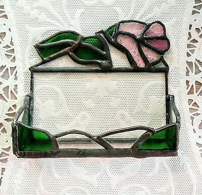 STAINED GLASS SHELF-Tulip-Rose-Green-Pink-Box-Rare-Lead-Flower-Stands-Vintage