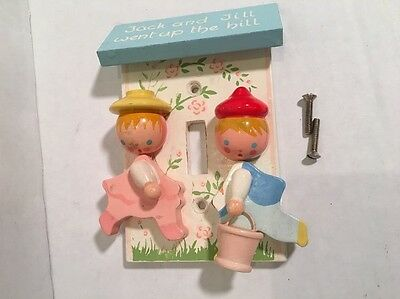 Jack And Jill Light Switch Cover Originals by IRMI Wooden Hand Painted Vtg