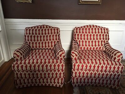Baker Chairs---- PR. Upholstered Club Chairs- Loose cushion back and seat