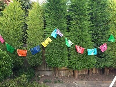OUTDOOR PARTY DECORATIONS   Mexican Bunting   Colourful Plastic Banners 5m/16ft
