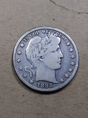 1895 S 50C Barber Half  Circulated  90 % Silver US Coin VG+ BH21