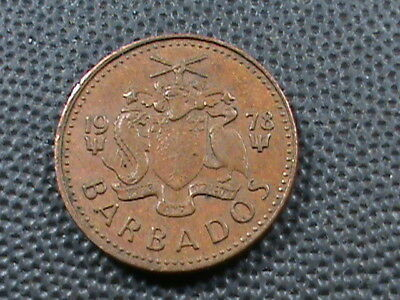 BARBADOS   1 Cent  1978  POSEIDON'S TRIDENT   $ 2.99  maximum  shipping  in  USA