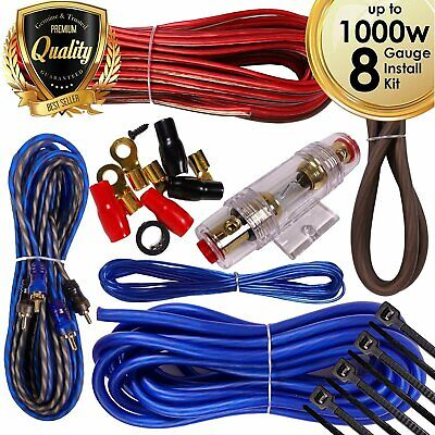 Complete 1000W 8 Gauge Car Amplifier Installation Wiring Kit Amp PK2 8 Ga Blue