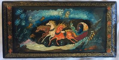 Russian Lacquered Palekh Box Troika Troyka Scene Signed Pre-Owned