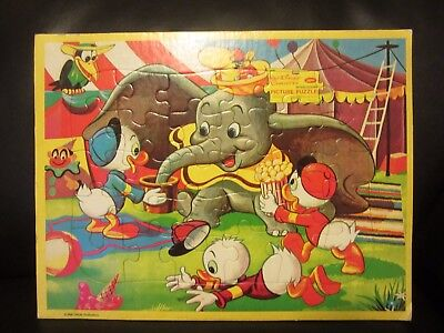 Vintage Walt Disney Puzzle Jaymar Frame Tray Picture Dumbo Huey Crow Characters