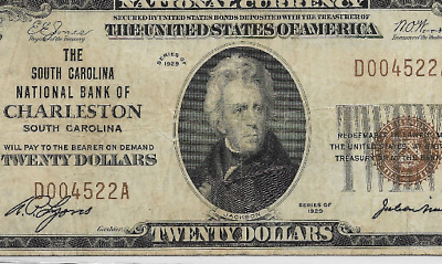 "$20 1929  (Charleston)  ""national Currency"" >(Low Serial) ""south Carolina"" Rare"