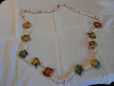 African Motiff Necklace With Carved Fish