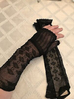 Amazing Lace Vintage Fingerless Opera Full Length Gloves Small