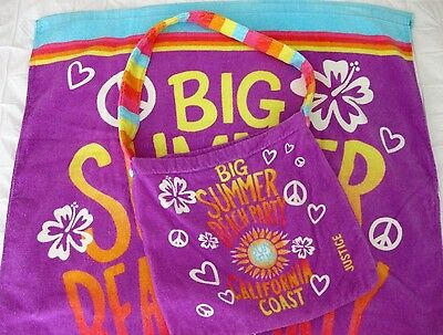 Justice Big Summer Beach Party Sun & Fun Calif Coast Towel With Tote Bag