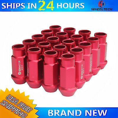 20 pcs for Chevy Dodge Toyota Lexus Wheel Lug Nuts 50mm With M12X1.5 Studs Red
