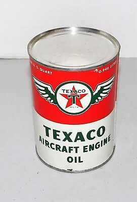 Texaco Vintage Metal Quart Aircraft Engine Oil Unopened FULL Flying Wing