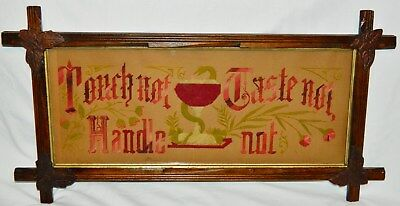 RARE 1870 Victorian Motto TOUCH NOT TASTE NOT HANDLE NOT Paper Punch Sampler WOW