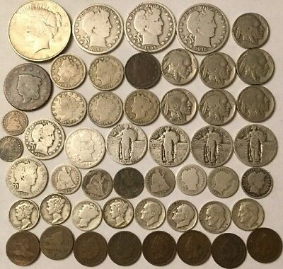 Lot Of US Coins Barber, Seated, Pennies, Dimes, V Nickels, Buffalo, Half Dimes