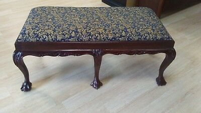 6 Legged Mahognay Bench / Chippendale style / Ball & Claw Feet