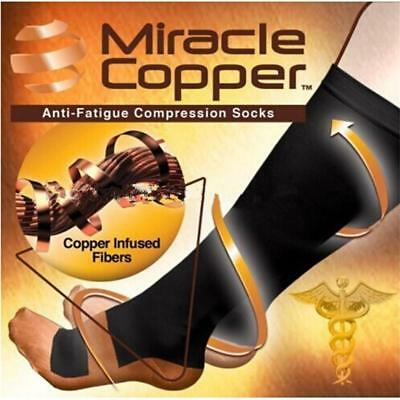 1 Pair Miracle Copper Compression Socks Travel Knee High Varicose Veins Sports