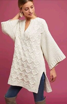 169bf36c4700 Anthropologie Moth Ivory Knit Splitneck Pullover Sweater XS S P NWT Chunky  Tunic