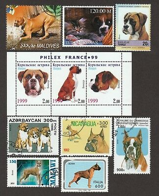 ON SALE!!!  BOXER ** Int'l Dog Postage Stamp Collection ** Unique Gift*