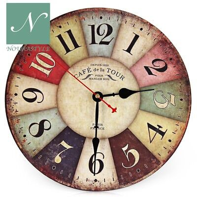 Original Decorative Wall Clock Round Vintage Wall Clock Colourful French Country