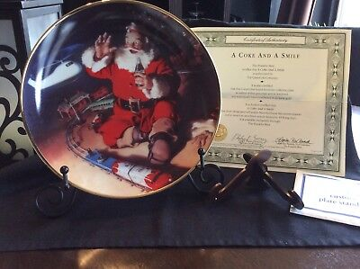"""Coca-Cola Franklin Mint Collector Plate """"A Coke And A Smile"""" With Certificate"""
