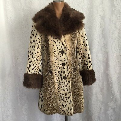 Vtg 70's MOD Country Pacer Faux Leopard Cheetah Fur Coat Jacket Size S