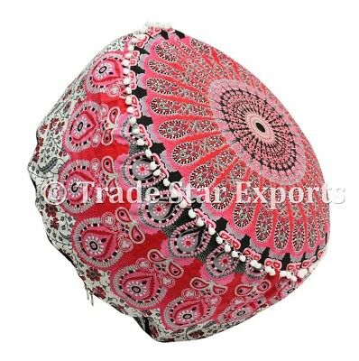 Indian Ombre Mandala Ottoman Pouf Cover Round Pouffe Ethnic Cotton Footstool
