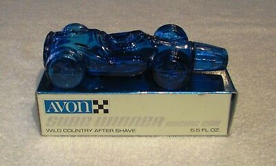 """Vintage Avon Indy Style Racing Car """"Sure Winner""""  - Blue Glass In Box - Empty"""