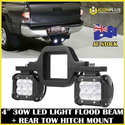 2x 4inch CREE LED Work Light Bar FLOOD+ Rear Tow Hitch Mount Bracket Backup Tail