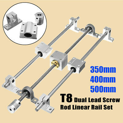 350mm/400mm/500mm T8 Dual Lead Screw Rod Linear Rail Support Guide Horizontal