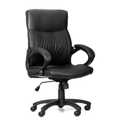 Moustache® Mid-Back Bonded-Leather Office Chair with Armrest, Black