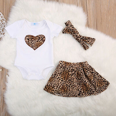UK Stock Summer Newborn Baby Girls Tops Romper Leopard Skirt 3Pcs Outfit Clothes