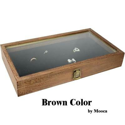 Large Wood Watch Box Glass Top Jewelry Ring Display Wooden Organizer Case Brown