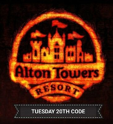 The Sun *Alton towers* Tuesday 20th March - 8 digit unique code