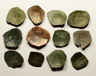 Lot Of 12 Ancient Byzantine Cup Coins - 008